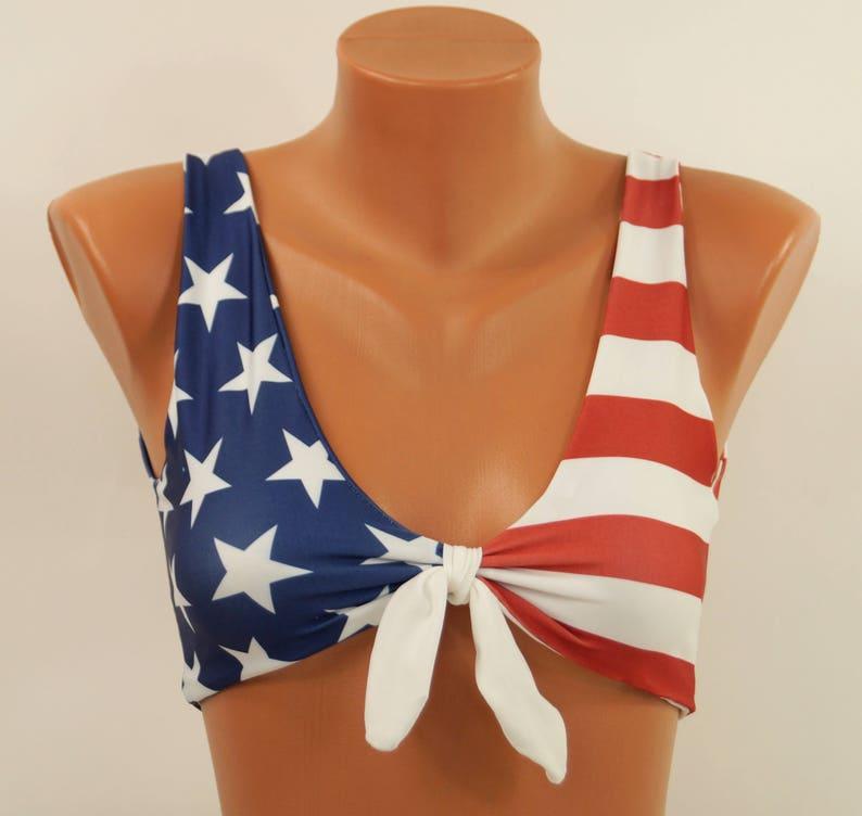 a09f4572a3 American flag bikini top/USA flag knotted bikini top/High neck | Etsy