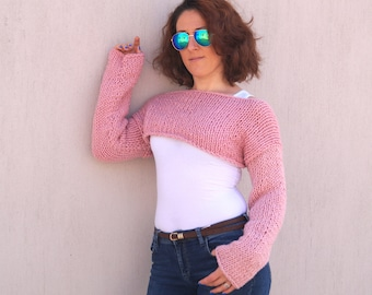 Pink sweater,Hand knit blush pink long sleeve sweater,Pullover,Christmas gift,Women sweater,Winter shrug,Choose your color and size !!!