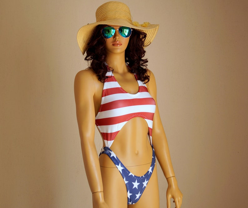 37fec1bfd4e American Flag high hip one piece swimsuit USA Flag one piece