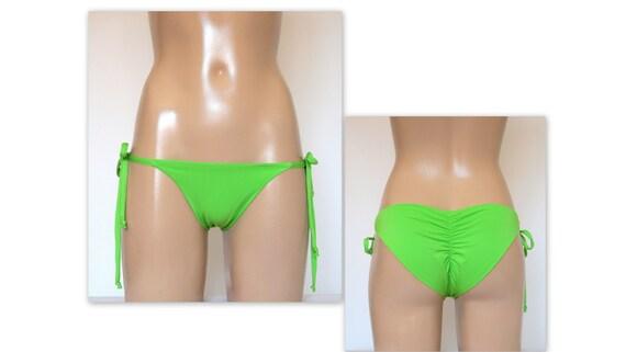 433d4bf214628 Bikini bottoms/Lime green scrunch tie side bikini | Etsy