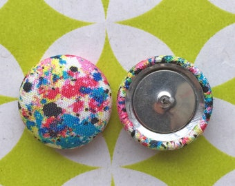 Fabric Button Earrings / Wholesale Jewelry / Splatter Paint / Hypoallergenic Studs / Small Gifts for Her / Bulk Earrings / Accessories
