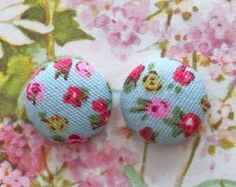 Button Earrings / Wholesale Jewelry / Blue Floral Earrings / Handmade in NYC / Nickel Free / Hypoallergenic Posts / Bridesmaid Gift Ideas