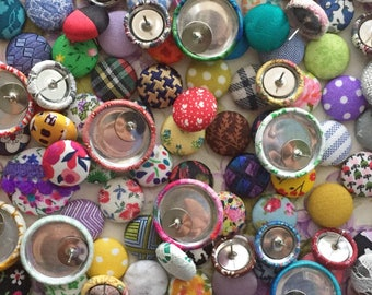 Button Earrings / 5 Pairs for 25 / Fabric Covered / Wholesale Jewelry / GRAB BAG / Stud Earrings / Gifts for Her / Made in USA