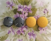 Fabric Button Earrings Set of 2 Bulk Jewelry Gray and Yellow Gifts for Her Wholesale Earrings Made in USA Vintage Inspired