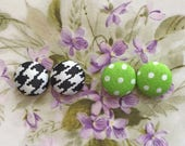 Fabric Button Earrings Set of 2 Wholesale Jewelry Houndstooth Small Gifts for Her Polka Dots Stud Earrings Vintage Inspired