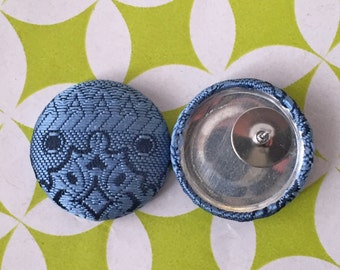 Fabric Covered Button Earrings / Blue / Small Gifts / Wholesale Jewelry / Handmade in USA / Stud Earrings / Stocking Stuffer / Bulk Discount