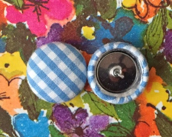 Wholesale Button Earrings / Blue Gingham Plaid / Bulk Jewelry / Nickel Free / Stud Earrings / Small Gifts / Brooklyn Made