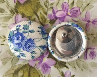 Button Earrings / Wholesale / Fabric Covered / Bridesmaids Jewelry / Blue and White / Hypoallergenic Posts / Gifts for Her / Made in NYC