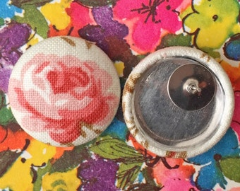 Wholesale Earrings / Fabric Covered Button Earrings / Pink Roses / Bulk Jewelry / Made in USA / Small Gifts / Bridal Shower Favors / Studs