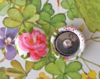 Fabric Covered Button Earrings / Wholesale Jewelry / Pink Flower / Stud Earrings / Small Gifts / Bridesmaid Jewelry / Hypoallergenic Posts