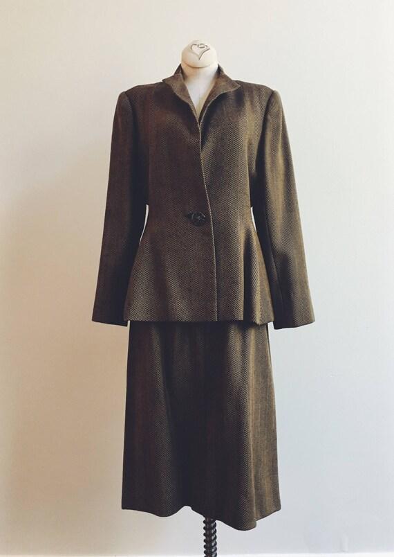 Vintage 1980s Pauline Trigere herringbone wool two