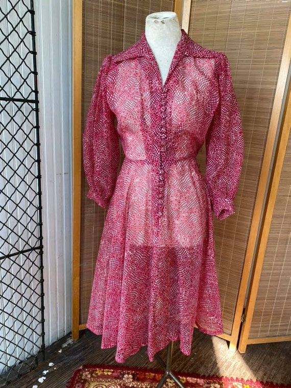 1940s sheer nylon dress fruit punch color with bal