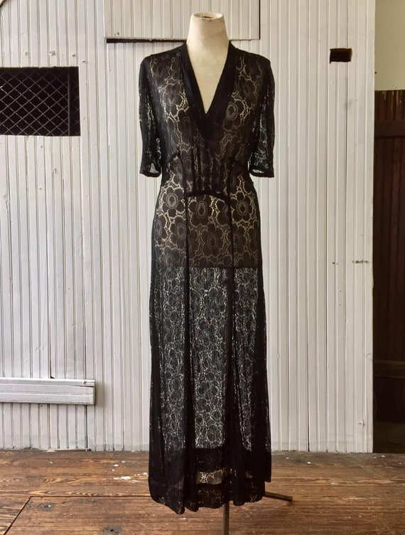 1930s slinky black rayon floral lace gown
