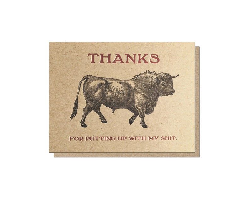 Thanks for putting up with my sh/t. Letterpress Thank You image 0