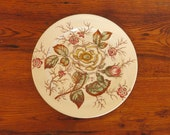 Antique John Maddock Sons Old Rose Vitreous China Round Chop Plate Serving Plate 12 quot Diameter