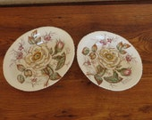 Antique John Maddock Sons Old Rose Vitreous China Oval Vegetable Bowls 9 quot and 10 quot Lot of 2 Bowls