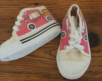 Vintage Fire Engine Toddler Sneakers Shoes Size 3