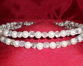 PRICE REDUCED! White Pearl and Crystal Twist Double Band Tiara