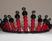 Dramatic Scarlet Crackle Beads, Black Crystal and Wire Work Gothic Style Crown/Tiara