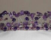 Purple Gemstone Amethyst and Swarovski Crystal Tiara