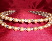 PRICE REDUCED! Pale Gold Pearl Double Band Tiara with Swarovski Crystals