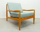 mid century modern Adrian Pearsall Craft Associates 843-C birch framed low lounge chair with grey suede upholstery