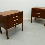 mid century modern pair walnut 2 drawer nightstands side tables with brass pulls