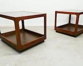mid century modern walnut framed Lane 2 tier tinted glass side end tables