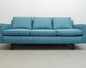 authentic Edward Wormley for Dunbar aqua tweed 3 seater mid century modern sofa