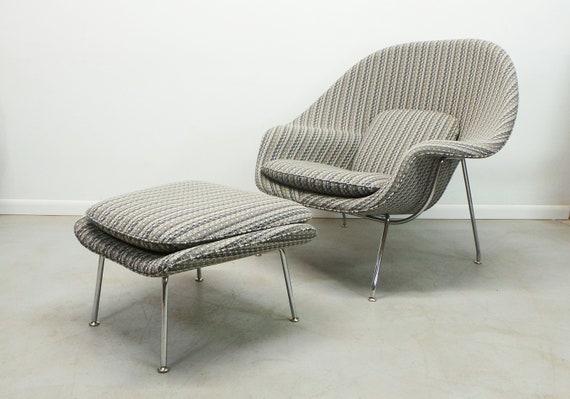 Miraculous Authentic Mid Century Modern Womb Chair Ottoman By Designer Eero Saarinen For Knoll Machost Co Dining Chair Design Ideas Machostcouk