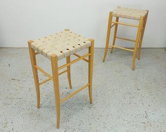 pair Italian modern natural oak cotton weave strap bar height stools FREE SHIPPING