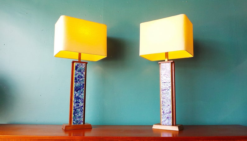 mid century modern Harris Strong pair of blue tile and walnut image 0