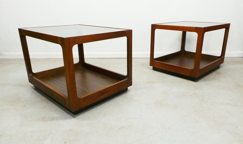 Super Mid Century Modern Walnut Framed Lane 2 Tier Tinted Glass Side End Tables Download Free Architecture Designs Grimeyleaguecom