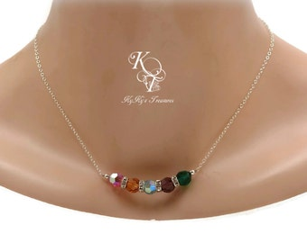 Birthstone Necklace, Mothers Necklace, Sterling Silver Necklace, Swarovski Mothers Jewelry, Mothers Day Gift, Mom Christmas Gift, Mom Gifts