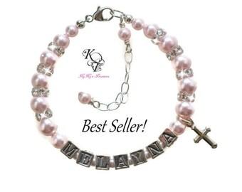 Personalized Christening Bracelet ~ Baptism Gift ~ Christening Gift ~ Personalized Baby Gift ~ Keepsake Bracelet ~ Baby Name Bracelet