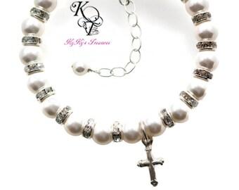 Baptism Bracelet - Baby Bracelet - Baptism Cross - Christening Gift - Baptism Gift - Baptism Boy - Baptism Girl - First Communion Gifts