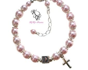 Personalized Baptism Bracelet, Baby Bracelet, Baptism Gift, Little Girl Bracelet, Christening Gift, First Communion, Baptism Cross