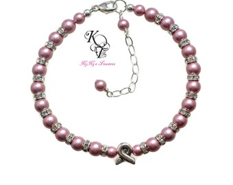 Pink Ribbon Bracelet, Awareness Bracelet, Pink Bracelet, Pink Ribbon Jewelry, Awareness Jewelry, Christmas Gift, Mothers Day Gift