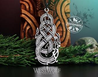 Dragon Knot Pendant - Viking or Celtic Art --- Norse Mythology/Valhalla/Midgard Serpent/Odin/Silver/Steel/Skyrim