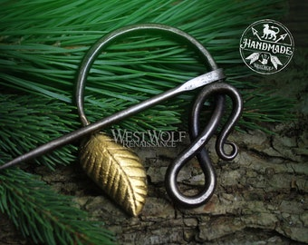 Hand-Forged Curled Steel Medieval Brooch with Gold Leaf --- Dark Age/Nature/Pagan/Viking/Greek/Roman/Snake/Vine/Penannular/Cloak Pin