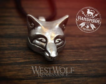 Fox Head Pendant in Sterling Silver, Bronze, or Pewter --- Norse/Viking/Celtic/Medieval/Jewelry/Necklace