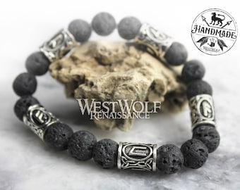 Icelandic Black Lava Rock Bracelet with Viking Rune Beads --- Norse/Scandinavian/Medieval/Volcano Stone/Bead/Jewelry/Skyrim