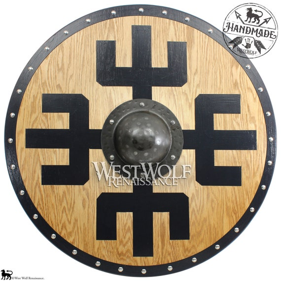 Solid Oak Viking Protection Symbol Shield With Forged Iron Etsy