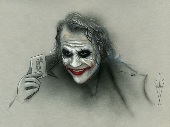 The Joker Pencil Airbrush Drawing 12 X 18 Inch Artwork