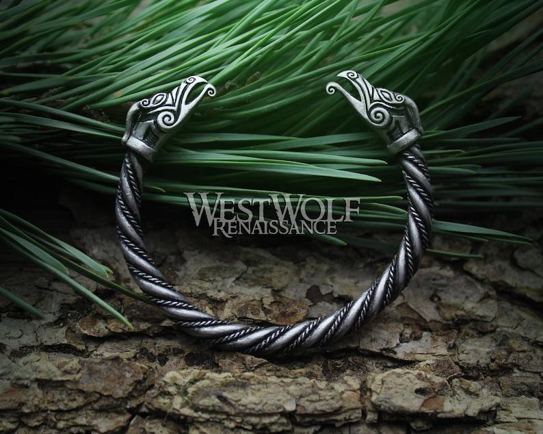 14d9e4cc66345 Viking Phoenix Torc / Bracelet --- Norse  Mythology/Figurehead/Celtic/Griffin/Eagle/Dragon/Monster/Medieval/Silver/Jewelry/Skyrim