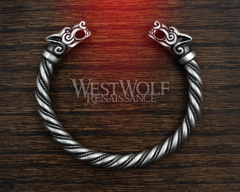 6b2bdf37a5f31 Silver Viking Fenrir Wolf Bracelet/Torc/Torque Norse | Etsy