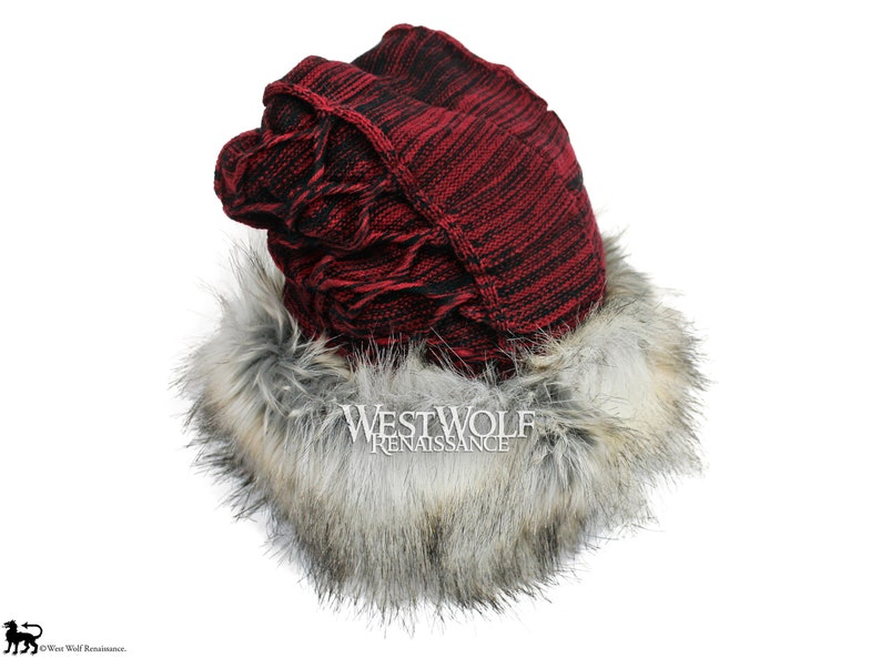 9b9c7a4c70f Silver Fox Fur Viking Hat with Woven Wine Red Knit Top
