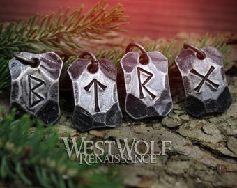 Hand-Forged Viking Rune Pendants - Made of Hammered Steel - Choose Your Talisman --- Norse/Symbols/Runes/Writing/Odin/Power/Charms/Beads