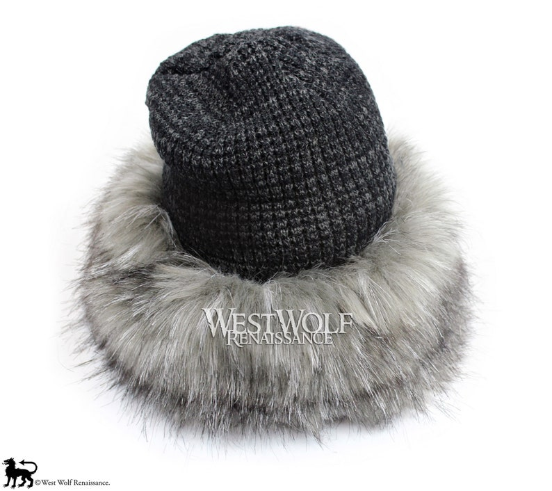 2636d463162 Grey Fox Fur Viking Hat with Woven Dark Grey Knit Top