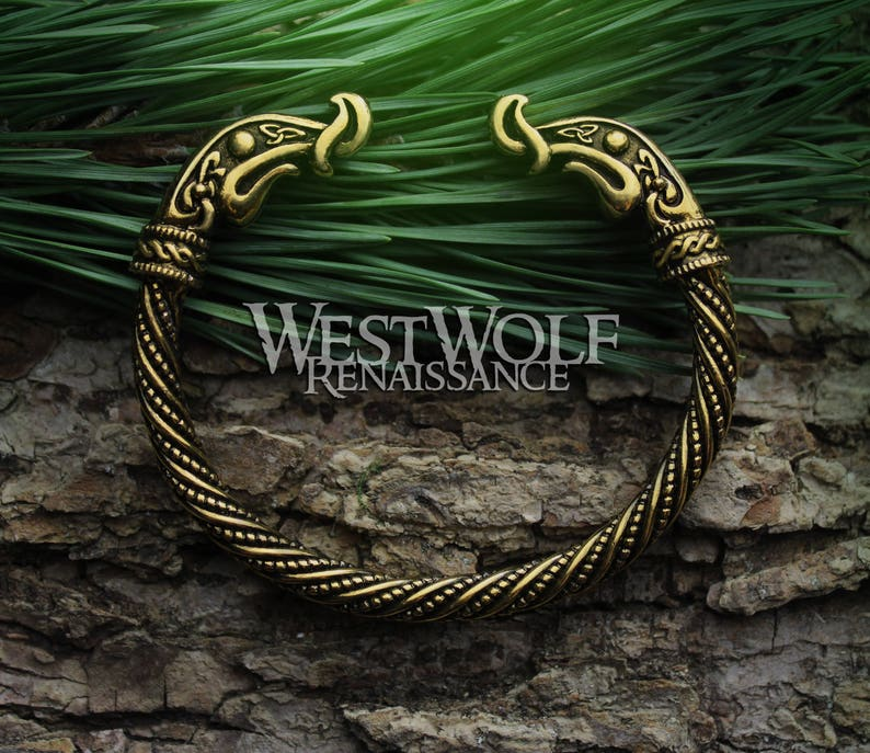 391bf37513b46 Viking Dragon Torc of Ragnar Lothbrok --- Dragon Head Bracelet or Arm Ring  --- Norse/Medieval/Bronze/Gold/Jewelry/Cuff/Skyrim